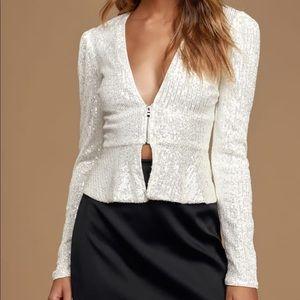 White sequin blouse